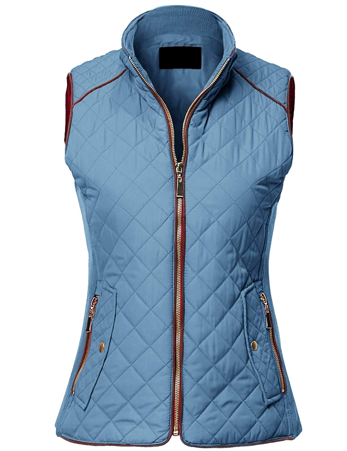 MAYSIX APPAREL Sleeveless Lightweight Zip Up Quilted Padding Vest Jacket for Women Dustyblue L