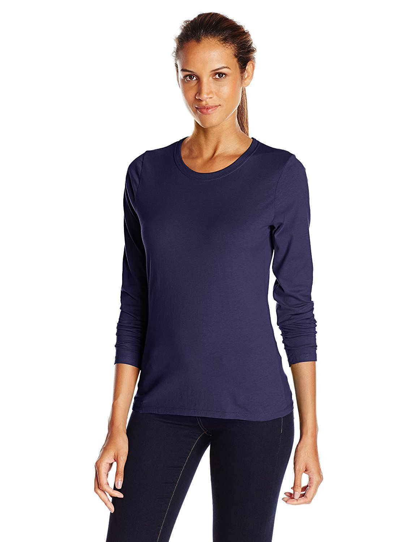 Hanes Women's Long-Sleeve Crewneck T-Shirt_Hanes Navy_Small_Hanes Navy_Small