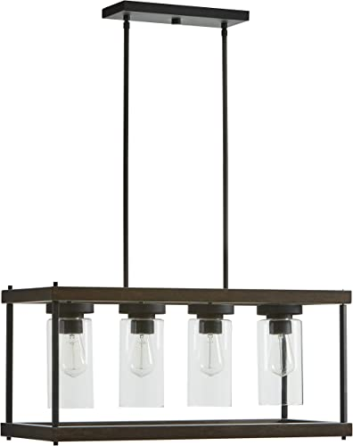 Amazon Brand Stone Beam Rustic Indoor Outdoor Option Outdoor Pendant Light with Bulb, 60.05 H, Black with Faux Wood