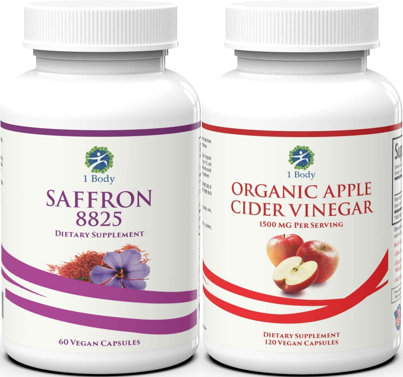 1 Body Saffron 8825 and Organic Apple Cider Vinegar Appetite Suppressant Weight Loss Bundle for Men and Women