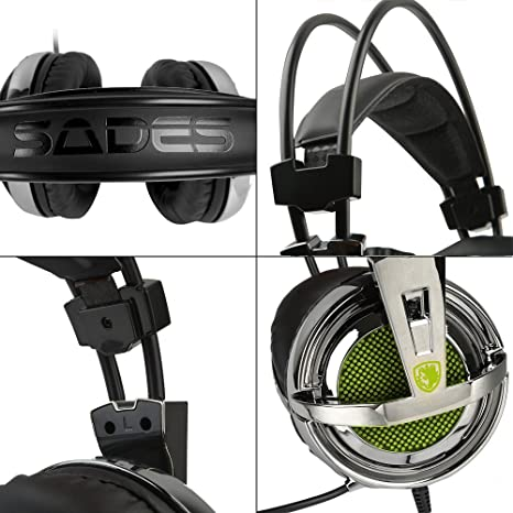 Gaming Headset, Sades SA-928 Stereo Lightweight PC Gaming Headphones 3 5mm  Jack with Mic for Laptop PC/MAC With Free Headset Splitter Adapter