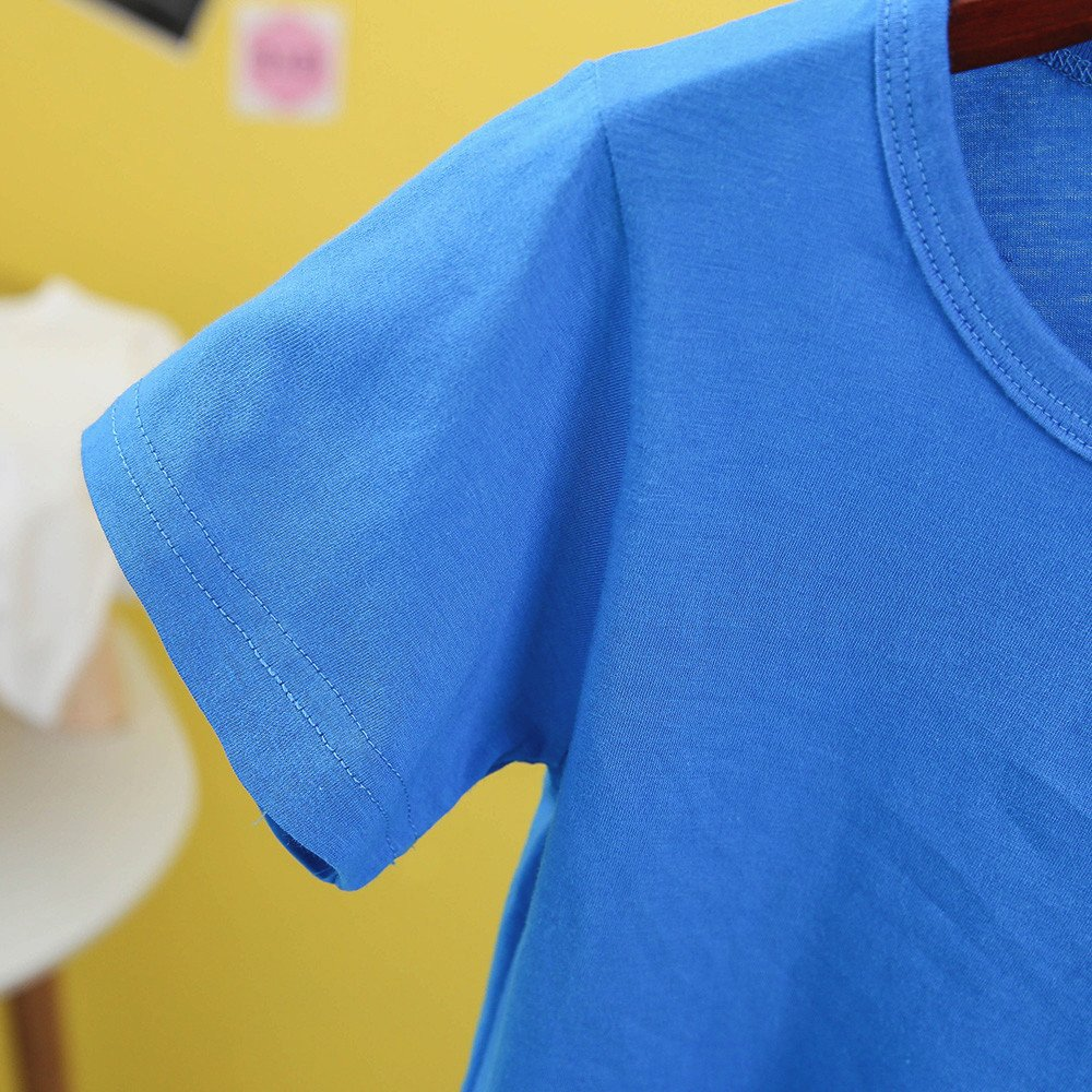 Kids Cheap T Shirts,Boys Solid Candy Color Tee Tops Little Girls T Shirts Pajama Shirts.(Blue,110) by Wesracia (Image #3)