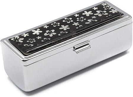 Stephanie Imports Estuche de viaje con caja de pintalabios con espejo Modelo de flor blanca: Amazon.es: Belleza