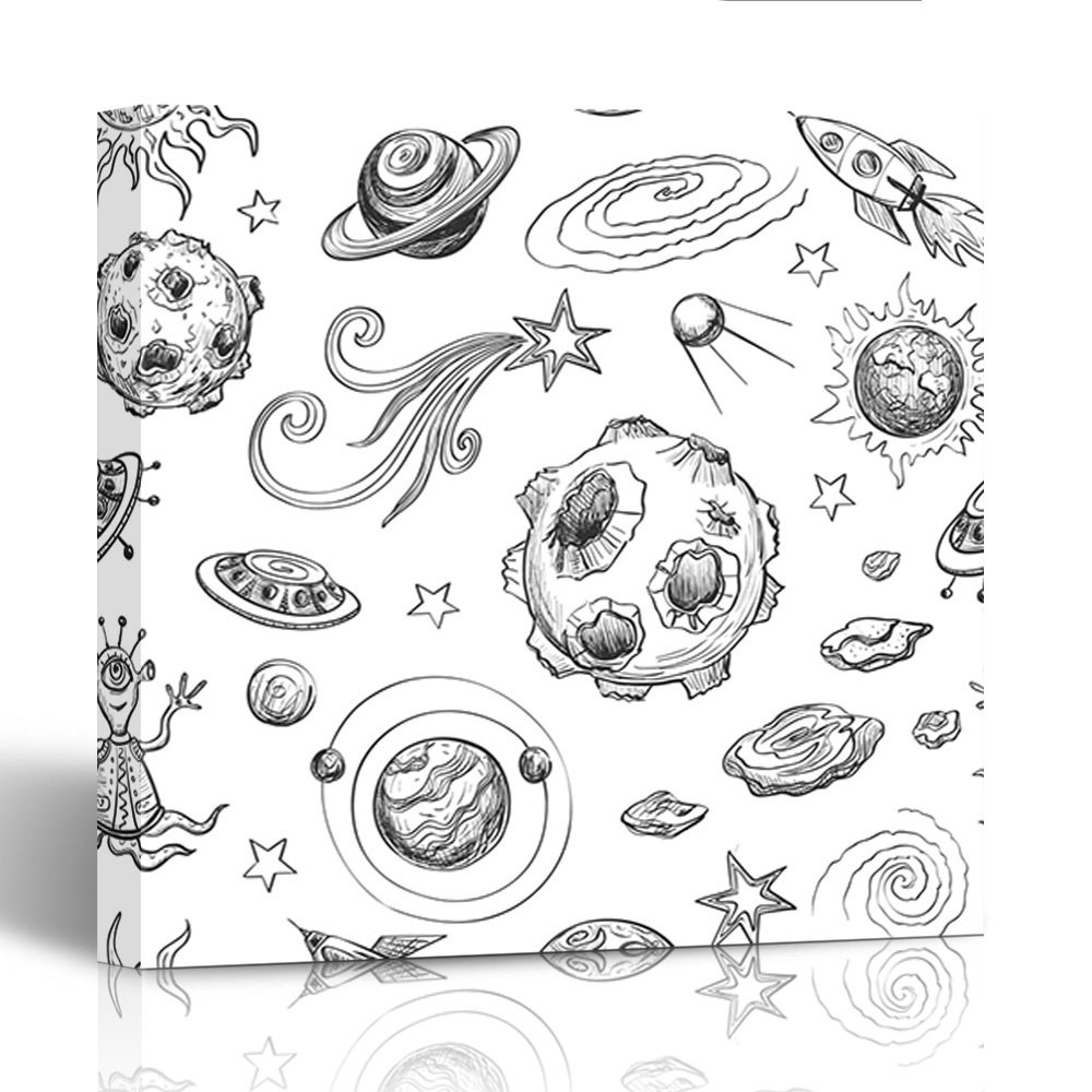 Emvency canvas prints square 12x12 inches space black and white with cartoon sketches the planets spaceships stars and sketch decoration wooden frame