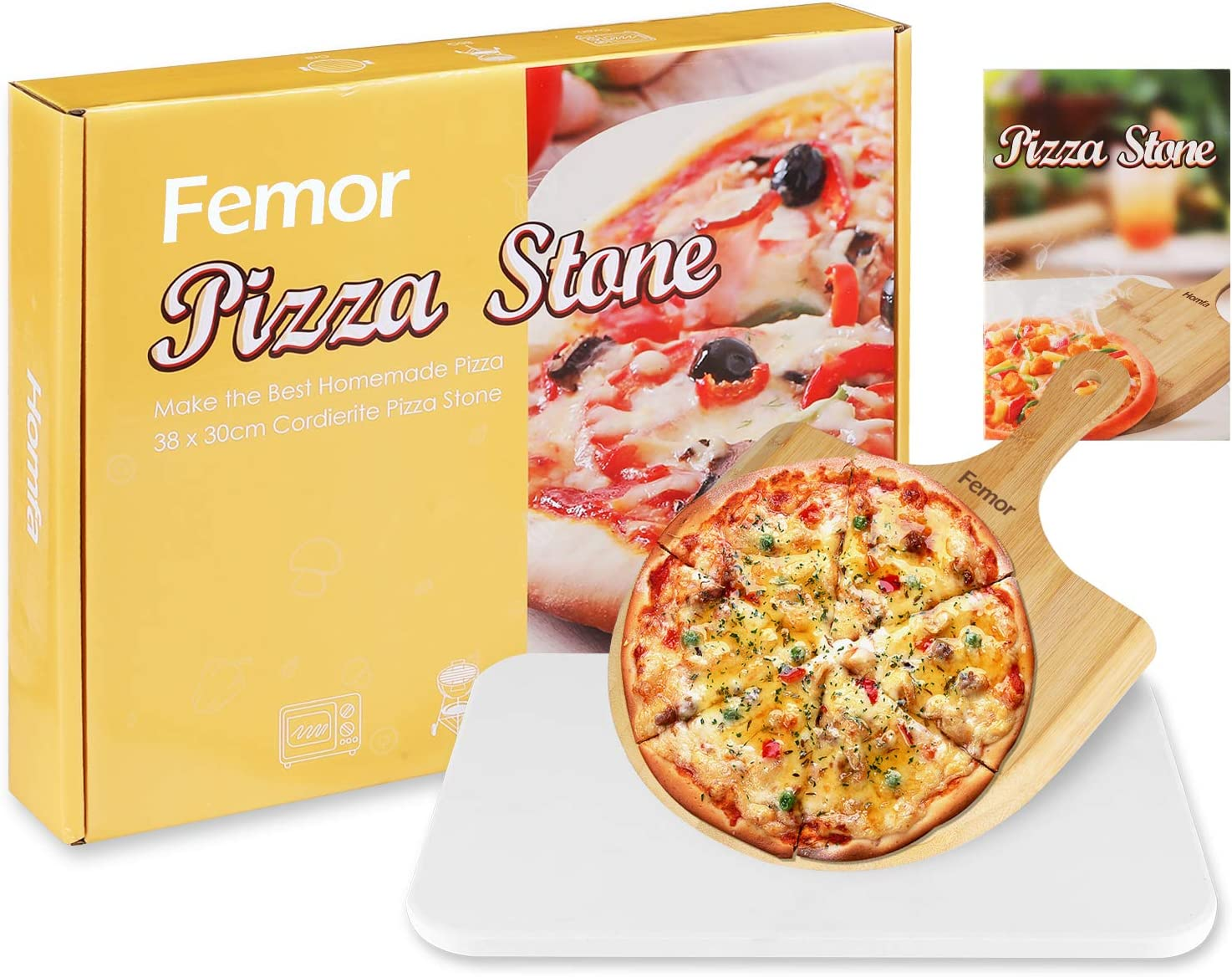 """femor Pizza Grilling Stone 15""""x12"""" Baking Stone for Oven, BBQ/Grill, Pizza Pan with Wooden Pizza Peel and Recipe, Rectangular"""