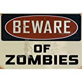 Deko Blechschild Warning Beware of Zombies Retro Wanddeko Nostalgie Metallschild