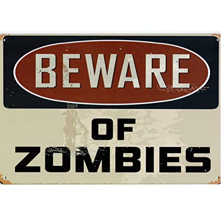 A.G.S. Decorativo Cartel de Chapa Warning Beware of Zombies ...