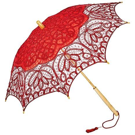 VON LILIENFELD Sombrilla Encaje Boda Nupcial Mujer Vivienne rojo
