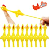 Rubber Chicken Slingshot Novelty Flickin Chicken Game Flying Chicken Toys Sticky Rubber Slingshot Chicken Office Pranks Easter Chicks Halloween Games Christmas Toys for Kids Adults (Yellow 10 pcs)