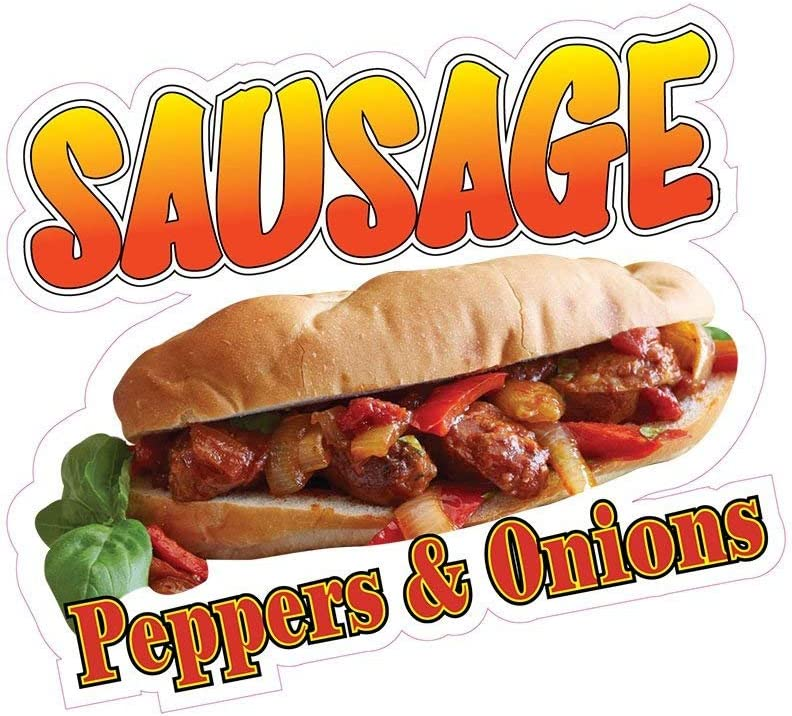 Sausage Peppers & Onions Concession Decal Sign Restaurant Food Truck Vinyl Sticker 10 inches