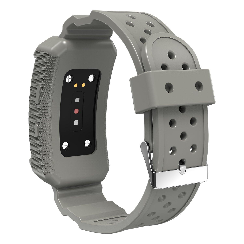 JIELIELE Samsung Gear Fit2 Ajustable Reloj Correa Estuche Protector Funda Deportivo Banda, Samaung Gear Fit2 Fitness Watch Accesorios Bandas (Gris)