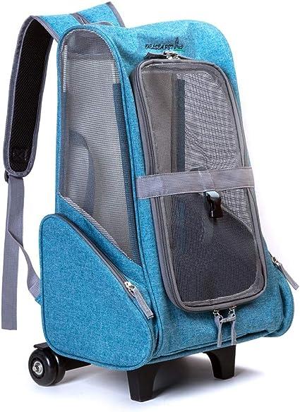 ペット用台車 ポータブル通気性バッグショルダーペットの猫プルトロリーポータブルペットのバックパック ペット輸送用トロリー (色 : 空色, サイズ : 37*26*43cm)