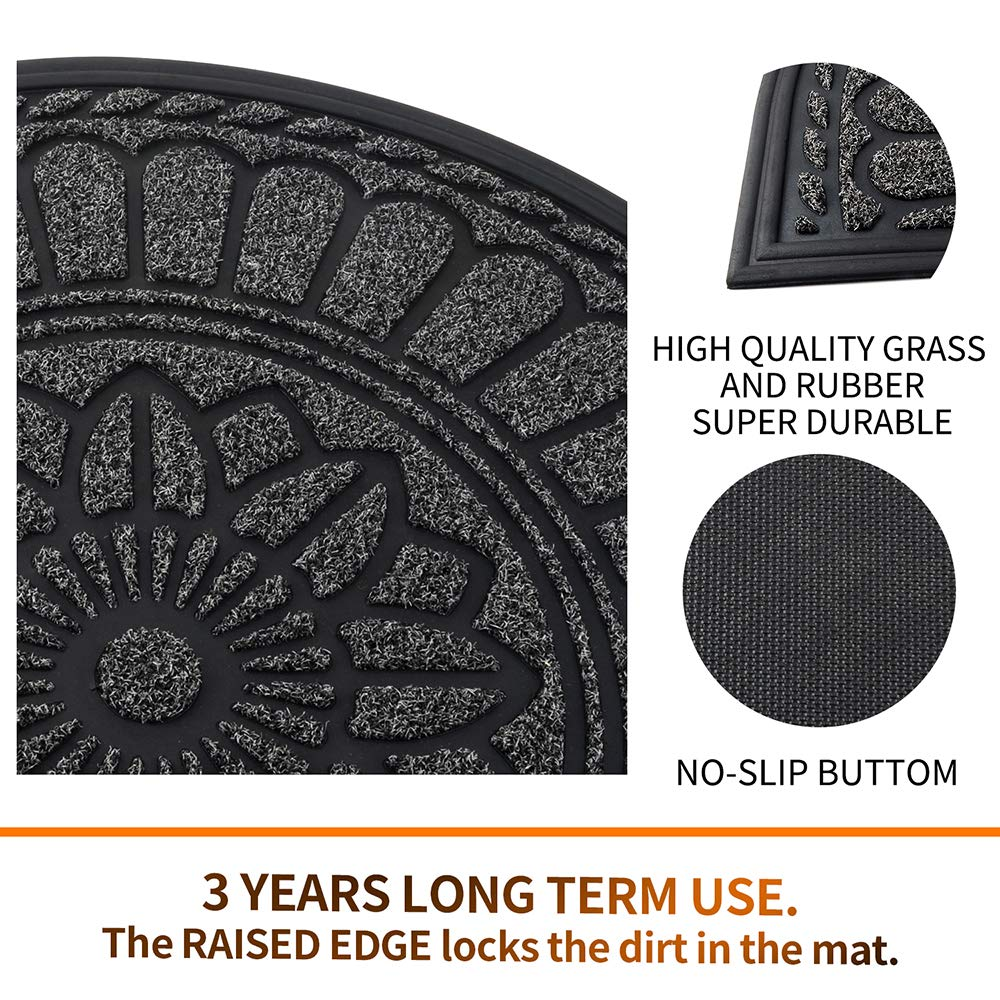 Mibao Durable Rubber Doormat Washable Indoor//Outdoor Mats for Entrance 24x 36 Large Half Round Low-Profile Waterproof Non Slip Easy Clean