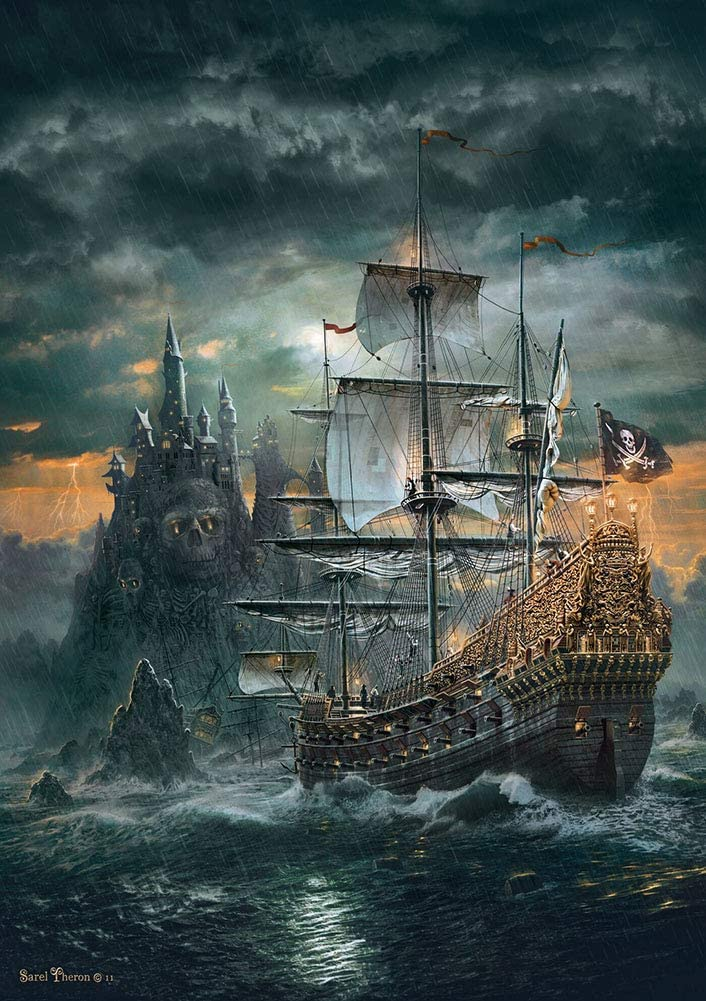 MOMPLUS Pirate Ship Jigsaw Puzzle for Adults 1000 Piece, Intellective Learning Educational Decompression Game Leisure Time DIY Toys Puzzles for Home Decoration
