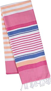 DII 100% Cotton Turkish Fouta Towel Highly Absorbent, Soft and Compact, Travel and Home, 39x71, Beach Stripe Pink
