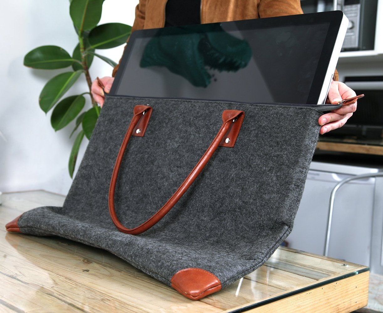 Lavolta Carrying Case Bag for Apple iMac 27-inch - Handmade Genuine Leather and Wool Felt - fits iMac 27'' Retina 5K & 27'' Thunderbolt Display - with Protective Lining & Pockets for iMac Accessories