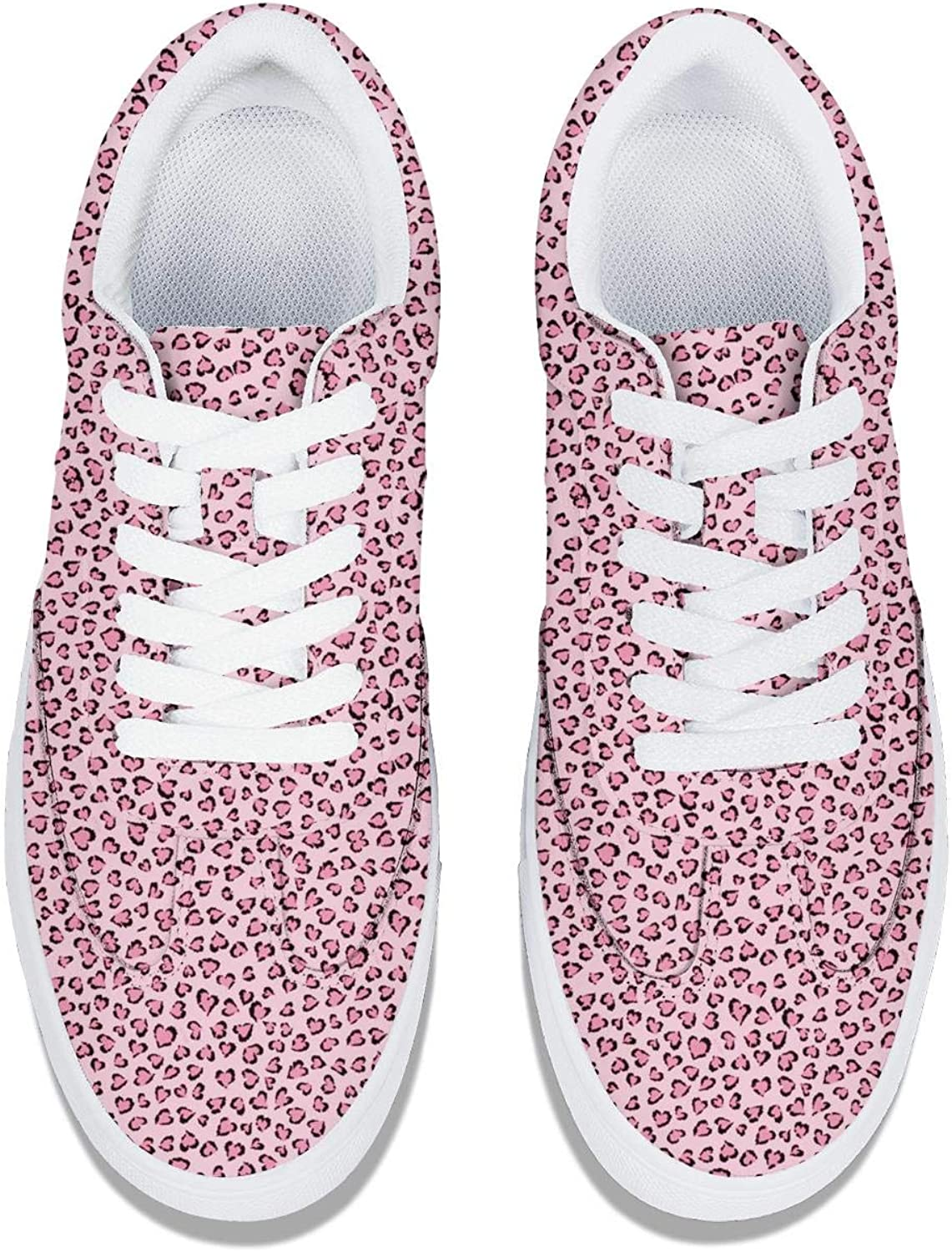 Pink One Love Leopard Cat Images Women Lace-Up Leather Sneaker Fashion Platform Comfortable Tennis Shoes