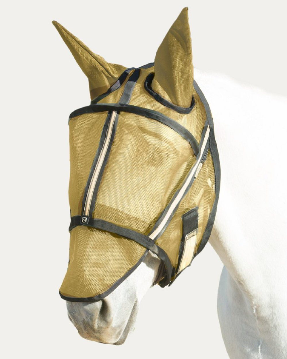 Noble Outfitters Guardsman Fly Mask Standard with Ears Protection Gold XL Horse UV/UPF 25+