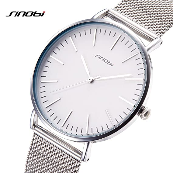 SINOBI Men Women Simple Wristwatch Ultra Thin Case Mesh Watchband Minimalism Man Watches reloj de pulsera