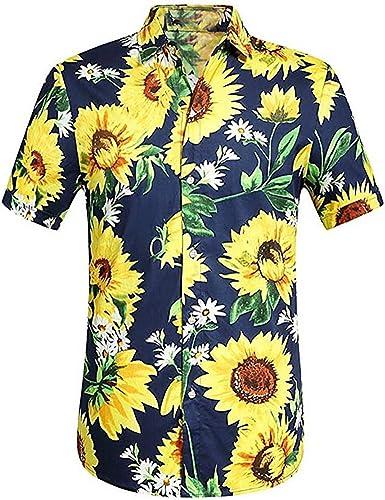 Camisas Hombre Flores Verano SHOBDW 2019 Nuevo Empalmado Impreso Hawaii Camisetas Hombre Manga Corta Casual Moda Cuello Mao Tops Slim Fit Hombre Blusas Tallas Grandes S-3XL: Amazon.es: Ropa y accesorios