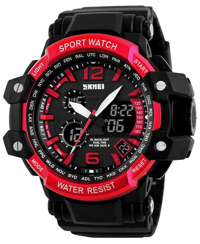 Men 's Quartz Double Timeデジタル腕時計スポーツウォッチS衝撃LED多機能軍事防水腕時計 B075CXP9KT