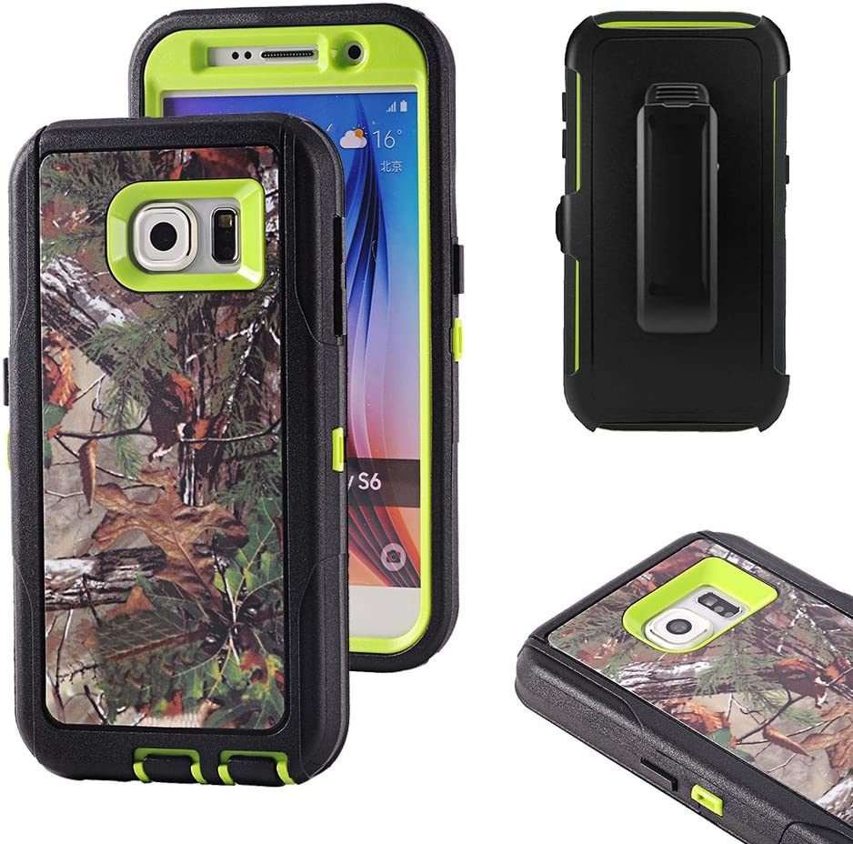 Galaxy S6 Case, Harsel Defender Series Heavy Duty Camo Impact Tough Rugged Hybrid Armor Protective Military w' Belt Clip Built-in Screen Protector Case Cover for Galaxy S6 (Forest/Green)