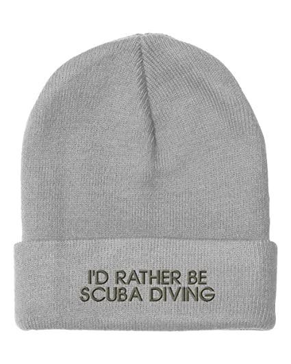 e810b27cac7 Speedy Pros I d Rather Be Scuba Diving Embroidered Unisex Adult Acrylic  Beanie Winter Hat