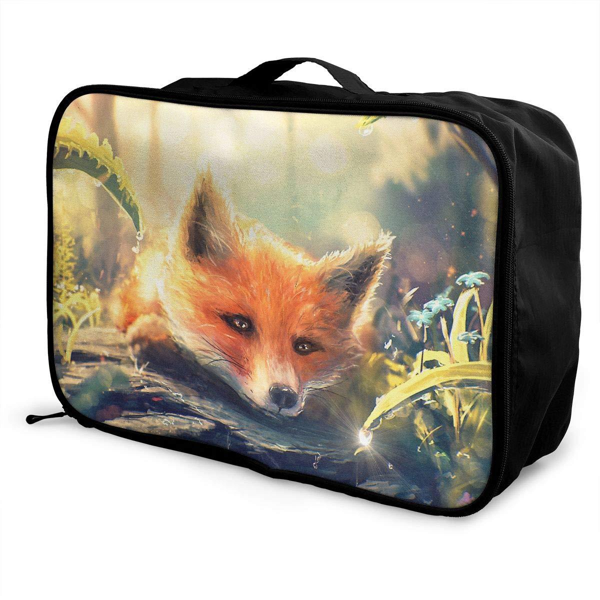 Travel Luggage Duffle Bag Lightweight Portable Handbag Animals Fox Print Large Capacity Waterproof Foldable Storage Tote