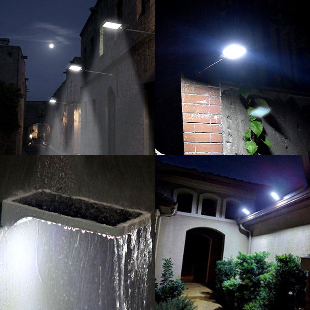 jardin cour Lampes Solaires D/étecteur de Mouvement Blanc, sans p/ôle 48 LED 7 Temp/ératures de Couleur Ajustables IP65 Lumi/ère Mural /Étanche avec T/él/écommande pour le patio plate-forme