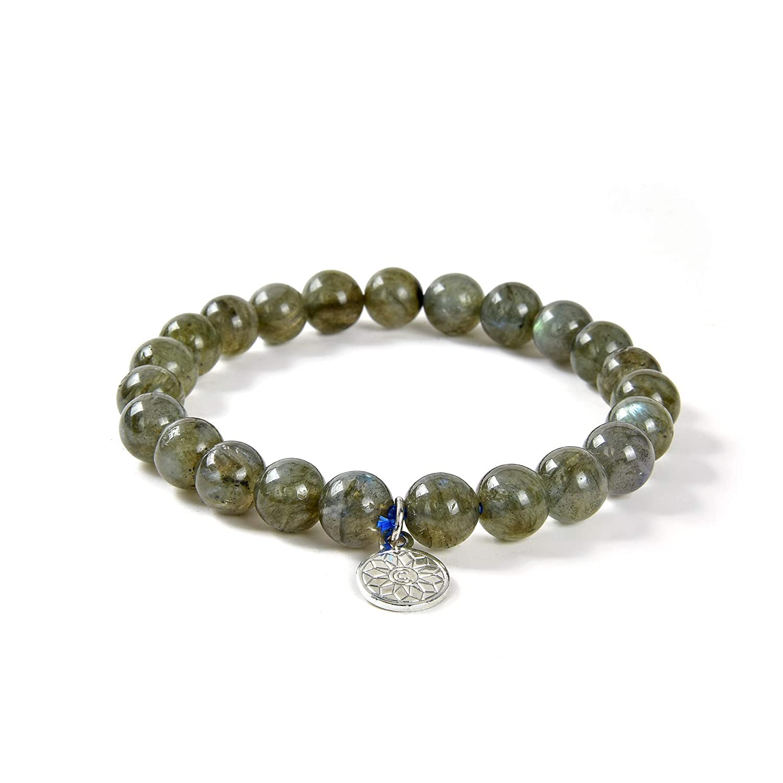 Chakra Gem Stones Crystal Round Gemstone Jewelry for Natural Healing Energy Crystal Agate Labradorite Bead Stretchy Bracelet Unisex Women Girls Men