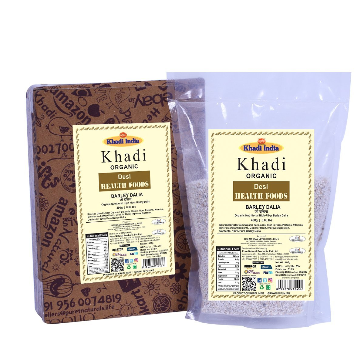Khadi Organic Barley Dalia (Porridge) 400 GM - Natural, Healthy Organic Food Rich in Fibre by khadi bypurenaturals