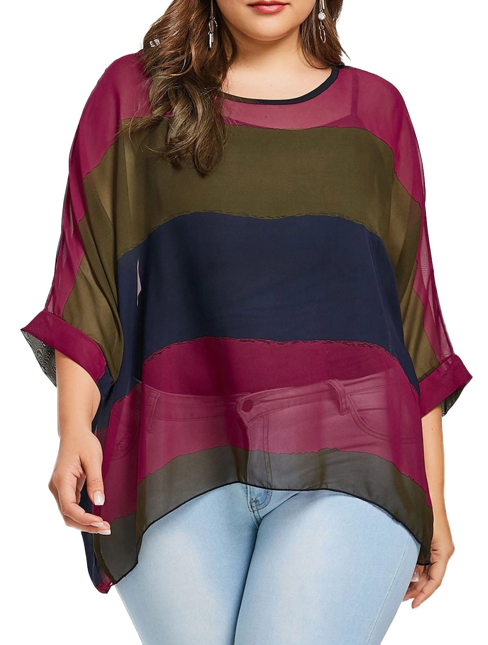 Fendxxxl Women's One Size Loose Casual Batwing Tops Chiffon Blouse Colorblock Shirt Tunics Rosered