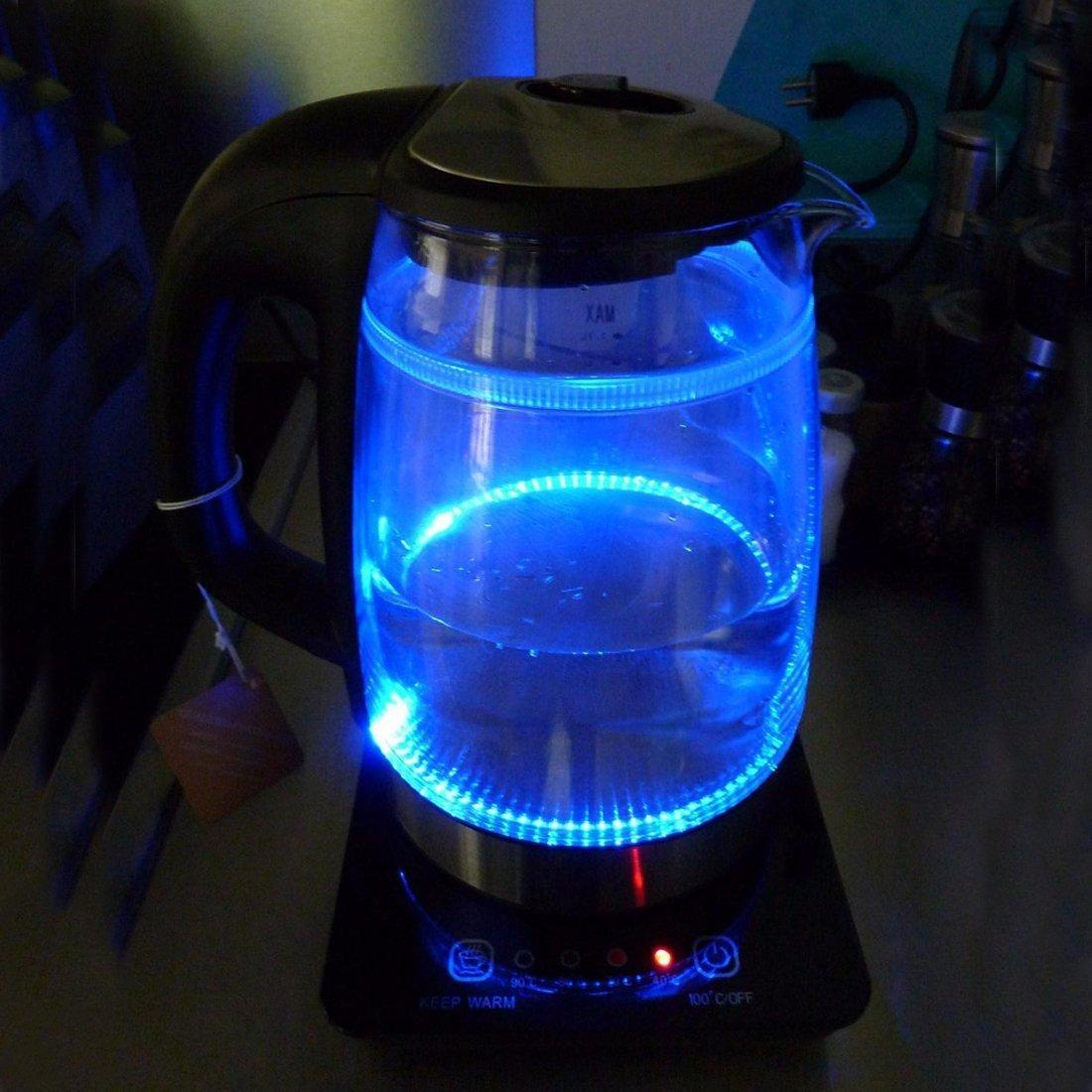 1,7/l, 2200/W color negro Kinden Hervidor de agua Cristal Acero Inoxidable Hervidor de agua t/é Hervidor Tetera Kettle inal/ámbrico LED de iluminaci/ón