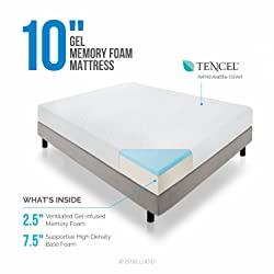 Lucid® 10-Inch Memory Foam Dual-Layered Mattress
