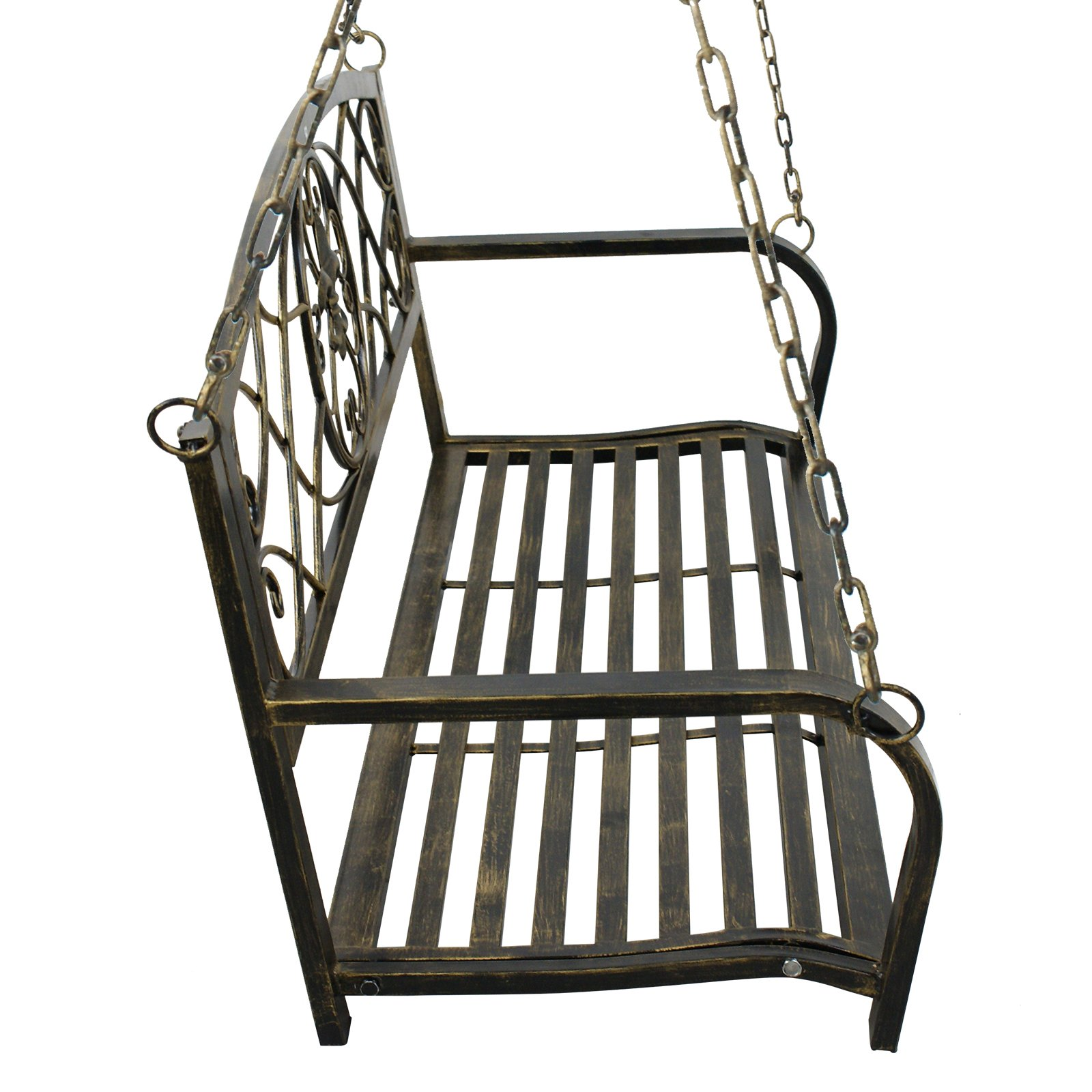Smartxchoices Treated Metal Hanging Patio Swing Bench Porch Furniture Fleur-De-Lis Design 2 Person Heavy Duty Swing Chair 50.5''L by Smartxchoices (Image #3)