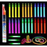 """Glow Sticks Bulk 52 Pieces Including 28 6"""" Long 0.6"""" Extra Thick Premium Industrial Grade Glowsticks (3 in Whistle Shape) and 24 8"""" Long Multicolor Glow Stick Bracelets. by Joyin Toy"""