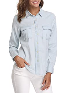 5749b139c5c MISS MOLY Denim Shirt Women Washed Rolled Long Sleeve Point Collar Tops w 2  Chest Flap