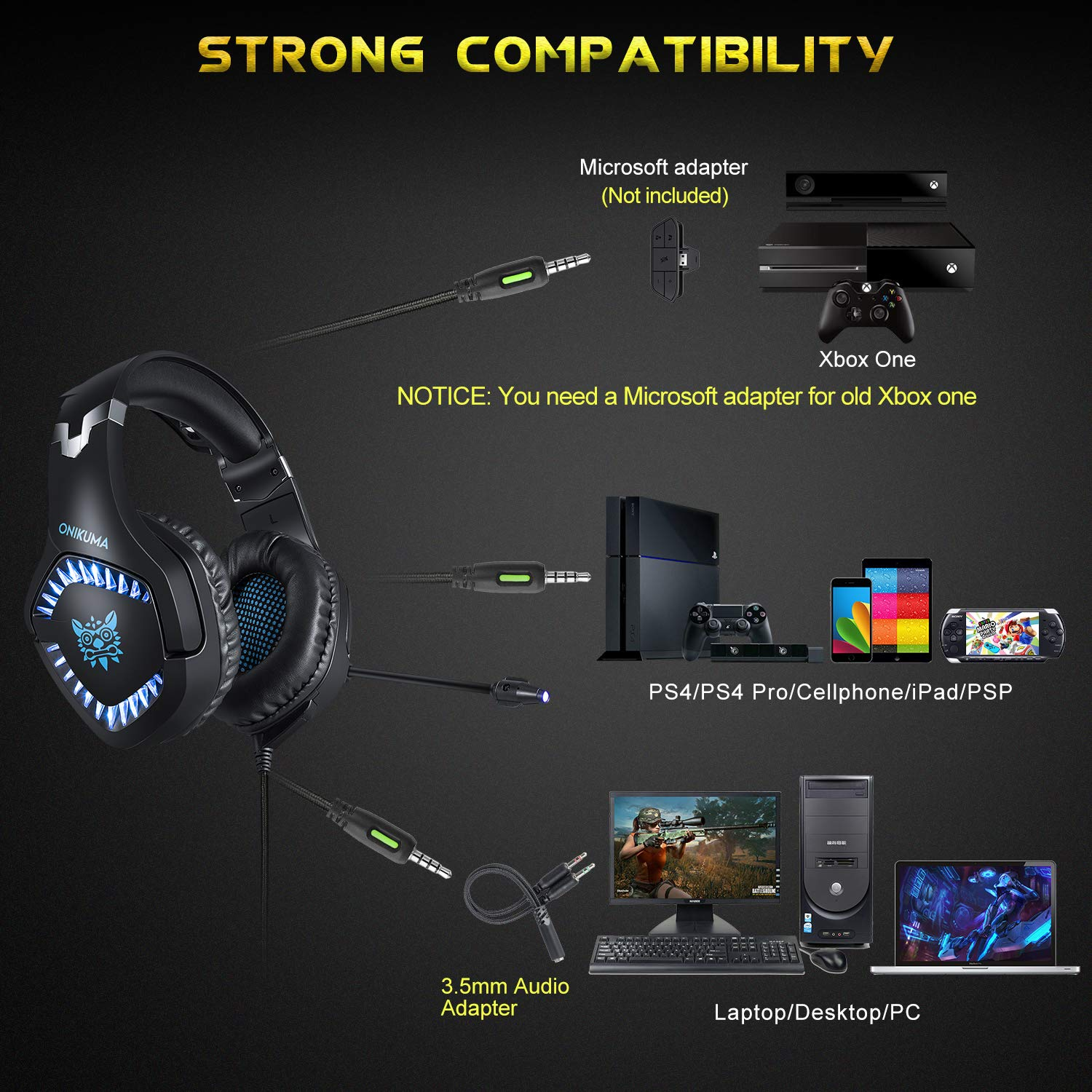Stereo Gaming Headset, DIOWING,【Upgraded 7.1 Bass Surround Sound】Over Ear Headphones with Mic for PS4, PC, Xbox One Controller, LED Light, Soft Memory Earmuffs for Laptop Mac Nintendo Switch Games by DIOWING (Image #3)