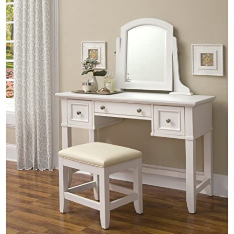 White Vanity Desk With Mirror.Home Styles Naples White Vanity Table And Bench With Mirror Center Drawer Two Outer Drawers And Brushed Nickel Hardware