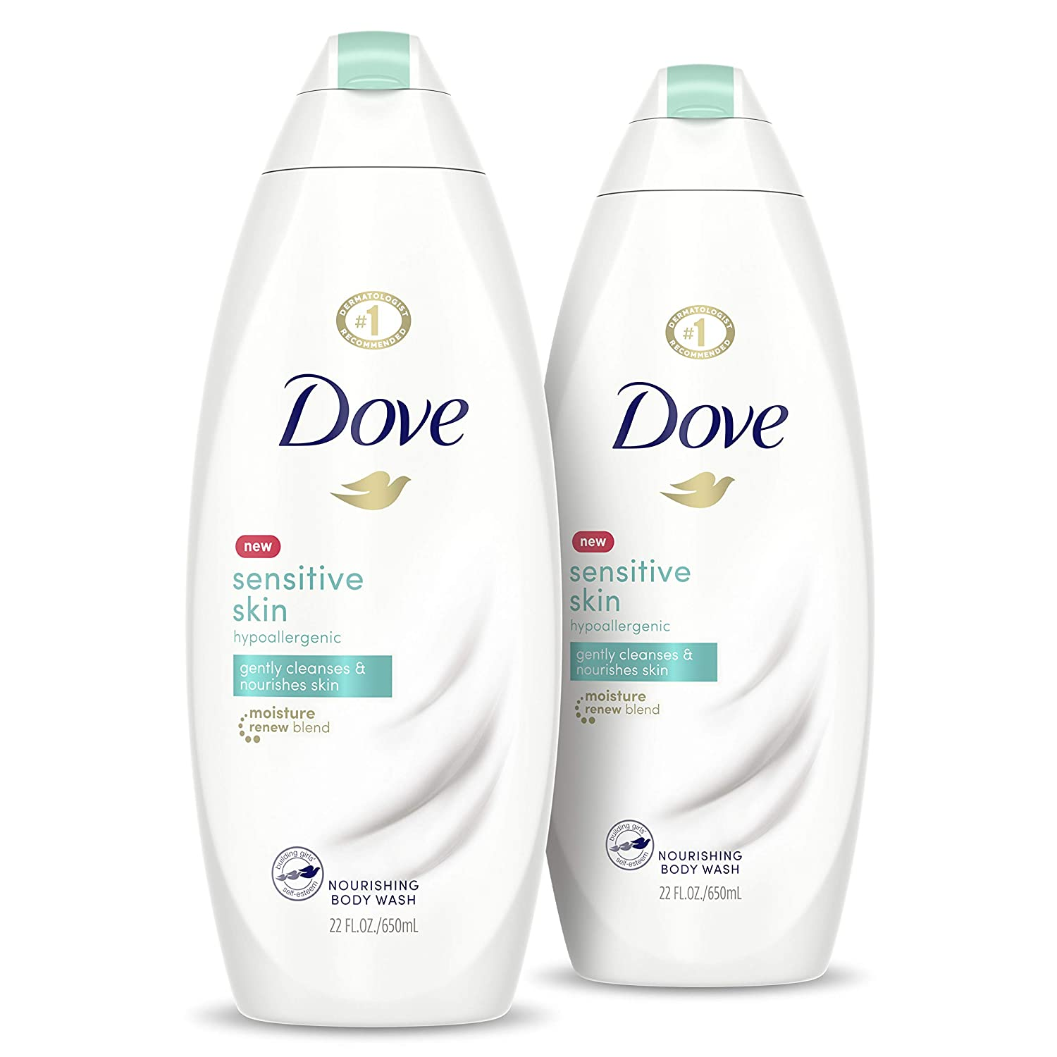 Amazon Com Dove Sensitive Skin Body Wash Hypoallergenic Gently Cleanses Nourishes Skin Sensitive Skin Moisturizing And Sulfate Free 22 Oz 2 Count Beauty