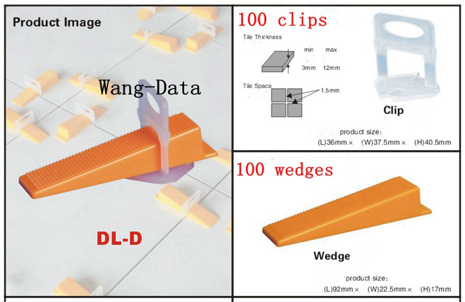 Wang-Data 200Pcs Tile Flat Leveling System 100Clips + 100 Wedges Wall Floor Balance Tool