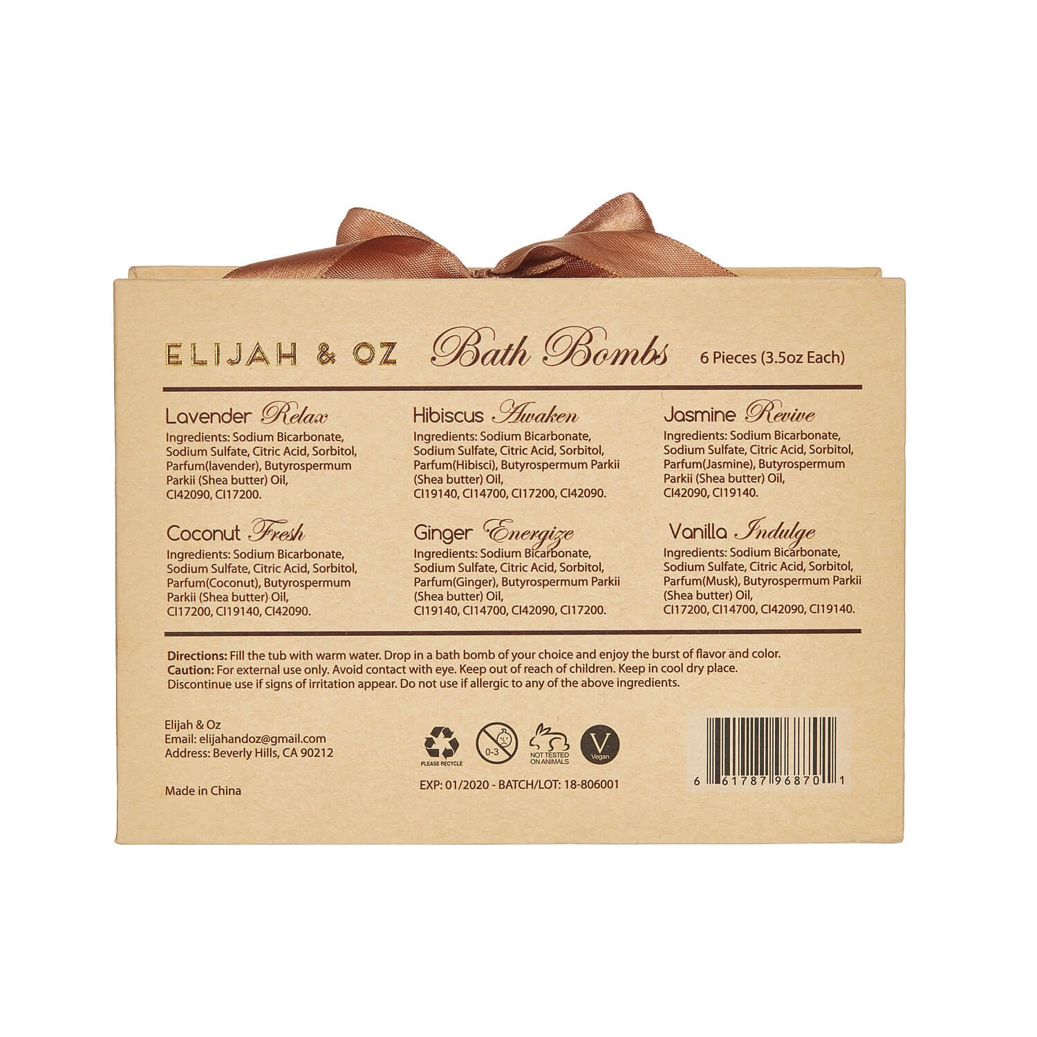 Bath Bombs Gift Set - Handmade Spa Fizzies for Relaxation & Aromatherapy - With Organic, Natural Essential Oils and Shea Butter - Vegan & Cruelty-Free (Set of 6)- By Elijah & Oz by Elijah & Oz (Image #7)