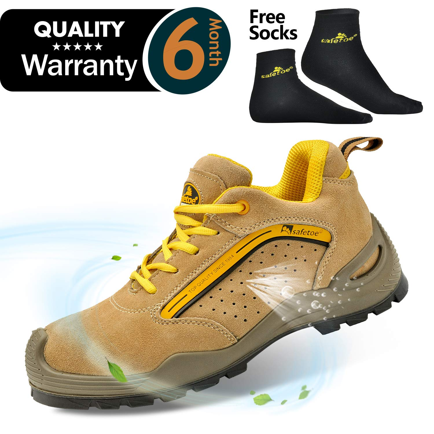 SAFETOE Mens Safety Work Shoes -L7296 Leather & Steel Toe Work Boots for Heavy Duty Work Wide Fit
