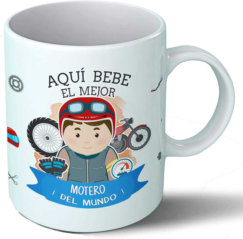 Planetacase Taza Desayuno Aquí Bebe el Mejor Motero del Mundo Regalo Original Motos Ceramica 330 mL