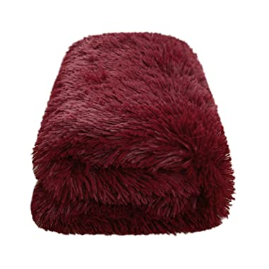 CaliTime Super Soft Blanket Throw for Couch Sofa Bed Elegant Cozy Plush Warm Faux Fur Solid Color 60 X 80 Inches Burgundy