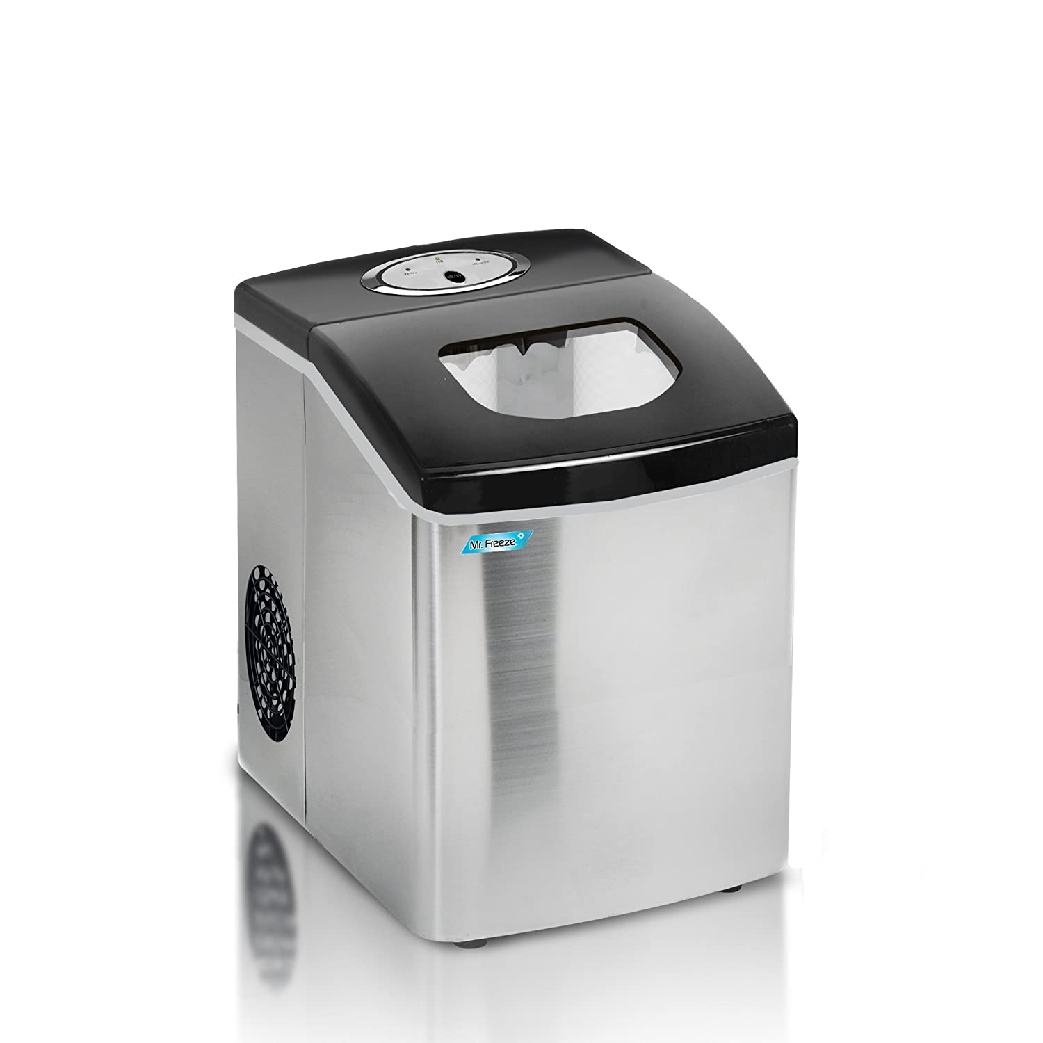 Mr Freeze MIM-18 Maxi-Matic Portable Ice Maker with Lid Stainless Steel Black