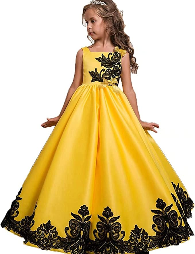 Abiti Da Sera Floreali.L Peach Vestito Principessa Per Ragazza Bambina Abiti Da Sera