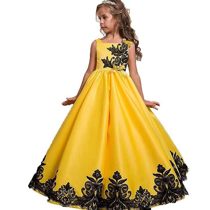L-Peach Vestido Amarillo de Princesa con Encaje Floral para Niñas Muchachas de Boda Cumpleaños