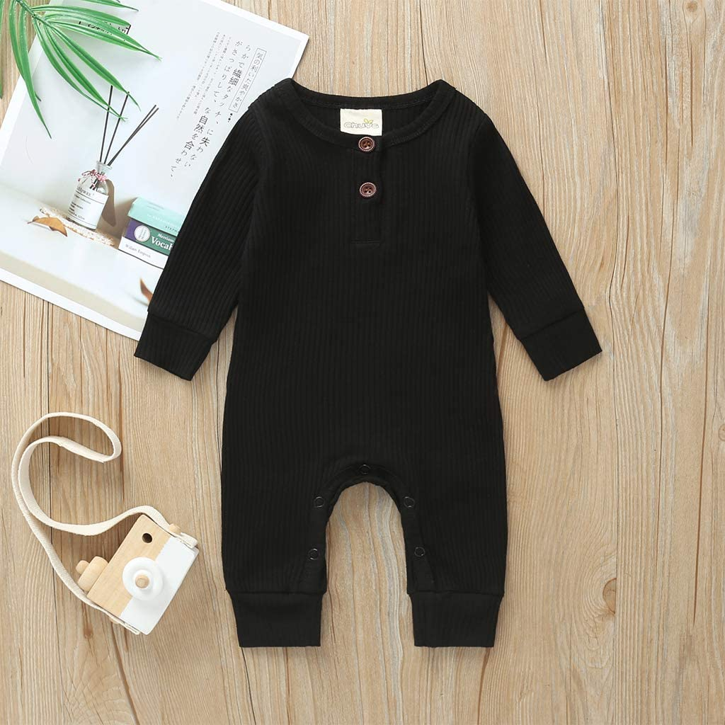 Newborn Baby Girl Boy Footie Jumpsuit Long Sleeve Solid Color Ribbed Romper Pajamas Clothes Set