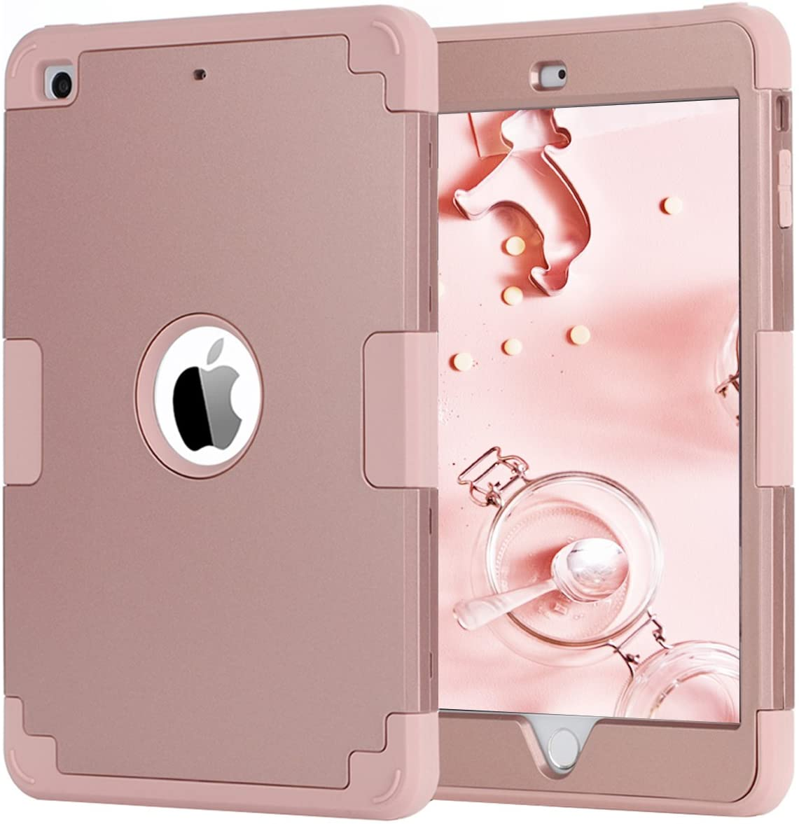 iPad mini Case,iPad mini 2 Case,iPad mini 3 Case,iPad mini Retina Case,BENTOBEN Anti-slip Shock-Absorption Silicone High Impact Resistant Hybrid Three Layer Armor Protective Case Cover Rose Gold Pink